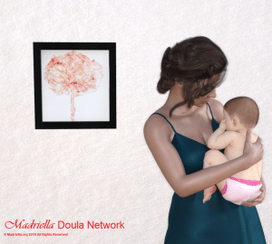 An illustration of a placenta print framed on the wall