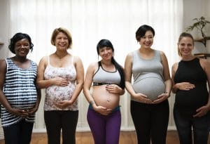Illustration of happy pregnant women